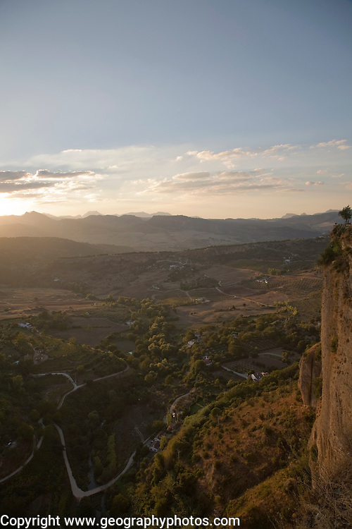 View over countryside and mountains at dusk from Ronda, Spain