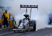 Aug. 31, 2013; Clermont, IN, USA: NHRA top fuel dragster driver Shawn Langdon during qualifying for the US Nationals at Lucas Oil Raceway. Mandatory Credit: Mark J. Rebilas-