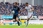05.10.2019, Benteler Arena, Paderborn, GER, 1.FBL, SC Paderborn 07 vs 1. FSV Mainz 05<br /><br />DFL REGULATIONS PROHIBIT ANY USE OF PHOTOGRAPHS AS IMAGE SEQUENCES AND/OR QUASI-VIDEO.<br /><br />im Bild / picture shows<br />Luca Kilian (Paderborn #15) im Duell / im Zweikampf mit Robin Quaison (FSV Mainz 05 #07), <br /><br />Foto © nordphoto / Ewert