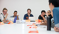 From left, Sophomore Class Senator Christopher Weeks '16, Chief of Staff Kyle Beasley '15, President Nicholas McHugh '15 and Senior Class Senators Jasmine Tovar '14 and Iesha Mitchell '14.<br />