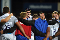 Bath Rugby players look on in a post-match huddle. Pre-season friendly match, between Leinster Rugby and Bath Rugby on August 25, 2017 at Donnybrook Stadium in Dublin, Republic of Ireland. Photo by: Patrick Khachfe / Onside Images