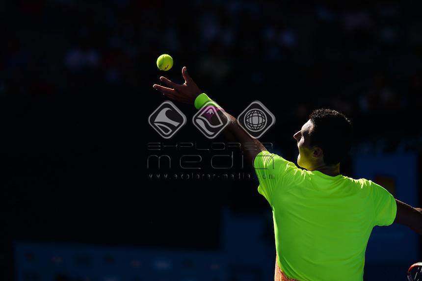Bernard Tomic (AUS) round 1 action<br /> 2015 Australian Open Tennis <br /> Grand Slam of Asia Pacific<br /> Melbourne Park, Vic Australia<br /> Monday 19 January 2015<br /> &copy; Sport the library / Jeff Crow