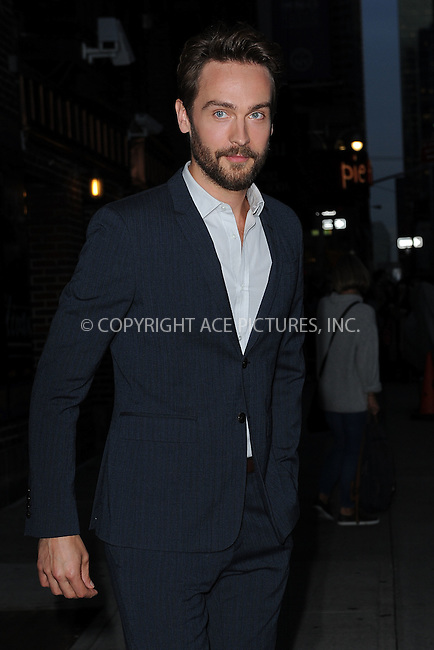 WWW.ACEPIXS.COM <br /> October 28, 2014 New York City<br /> <br /> Tom Mison after taping an appearance on the Late Show with David Letterman on October 28, 2014 in New York City.<br /> <br /> Please byline: Kristin Callahan/ACE Pictures  <br /> <br /> ACEPIXS.COM<br /> Ace Pictures, Inc<br /> tel: (212) 243 8787 or (646) 769 0430<br /> e-mail: info@acepixs.com<br /> web: http://www.acepixs.com