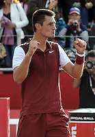 BOGOTA- COLOMBIA 26-07-2015: Bernard Tomic de Australia, celebra el triunfo sobre Adrian Mannarino de Francia, durante partido del Claro Open Colombia de Tenis en las canchas del Centro de Alto rendimiento en Altura en la ciudad de Bogota.   / Bernard Tomic de Australia, celebrates the victory against Adrian Mannarino of France during the final of the Claro Open Colombia of Tennis in the courts of the High Performance Center in Altura in Bogota City. Photo: VizzorImage / Luis Ramirez / Staff.