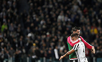 Calcio, Serie A: Juventus vs Milan. Torino, Juventus Stadium, 21 novembre 2015. <br /> Juventus&rsquo; Paulo Dybala, right, is hugged by his teammate Alvaro Morata after scoring during the Italian Serie A football match between Juventus and AC Milan at Turin's Juventus stadium, 21 November 2015.<br /> UPDATE IMAGES PRESS/Isabella Bonotto