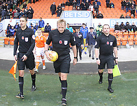 The officials take to the pitch<br /> <br /> Photographer Mick Walker/CameraSport<br /> <br /> The EFL Sky Bet League One - Blackpool v Bristol Rovers - Saturday 3rd November 2018 - Bloomfield Road - Blackpool<br /> <br /> World Copyright © 2018 CameraSport. All rights reserved. 43 Linden Ave. Countesthorpe. Leicester. England. LE8 5PG - Tel: +44 (0) 116 277 4147 - admin@camerasport.com - www.camerasport.com
