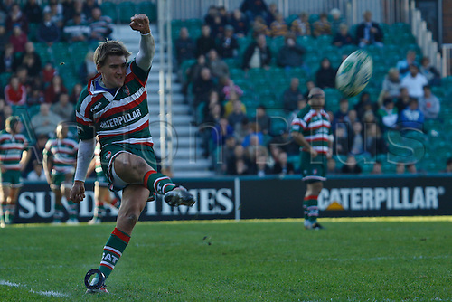 18.10.2010 Toby Flood convert\'s Leicester\'s fifth try.Leicester Tigers vs Scarlets in Pool 5 of Heineken Cup at Welford Road