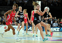 15.09.2018 Silver Ferns Gina Crampton in action during Silver Ferns v England netball test match at Spark Arena in Auckland. Mandatory Photo Credit ©Michael Bradley.
