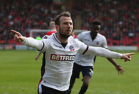 Bolton Wanderers' Adam Le Fondre celebrates scoring his sides first goal<br /> <br /> Photographer Rachel Holborn/CameraSport<br /> <br /> The EFL Sky Bet Championship - Barnsley v Bolton Wanderers - Saturday 14th April 2018 - Oakwell - Barnsley<br /> <br /> World Copyright &copy; 2018 CameraSport. All rights reserved. 43 Linden Ave. Countesthorpe. Leicester. England. LE8 5PG - Tel: +44 (0) 116 277 4147 - admin@camerasport.com - www.camerasport.com