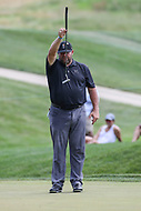 Bethesda, MD - July 1, 2017:  Jason Gore lines up his putt attempt during Round 3 of professional play at the Quicken Loans National Tournament at TPC Potomac in Bethesda, MD, July 1, 2017.  (Photo by Elliott Brown/Media Images International)