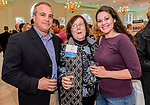 PLANTSVILLE, CT. 30 April 2018-043018BS04 - From left, Todd Genovese of Universal Copy of Naugatuck, Ginny O'Rourke Coorson of O'Rourke & Birch of Waterbury, and Chelsea Sabo of Universal Copy of Naugatuck pose for a photo during the annual Chamber's Business Expo and Health & Wellness Fair at the Aqua Turf on Monday evening. Bill Shettle Republican-American