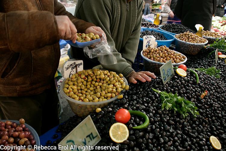 Olives in a market in Pendik, Istanbul, Turkey