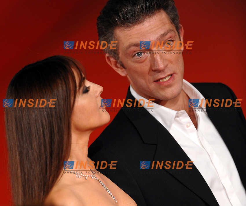 Vincent Cassel and Monica Bellucci during the red carpet for the film &quot;L'Uomo che ama&quot; at the the third edition of Festa Internazionaledel Cinema di Roma, Auditorium Parco della Musica, October 23, 2008. <br /> Photo Andrea Staccioli Insidefoto
