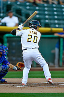 Daniel Nava (20) of the Salt Lake Bees at bat against the Round Rock Express in Pacific Coast League action at Smith's Ballpark on August 13, 2016 in Salt Lake City, Utah. Round Rock defeated Salt Lake 7-3.  (Stephen Smith/Four Seam Images)