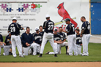 April 15,2010:  Head Coach Skip Sherman of the Genesee Community College (GCC) Cougars Men's Baseball Team addresses his team vs. Alfred State at Dwyer Stadium in Batavia, NY.  Photo Copyright Mike Janes Photography 2010