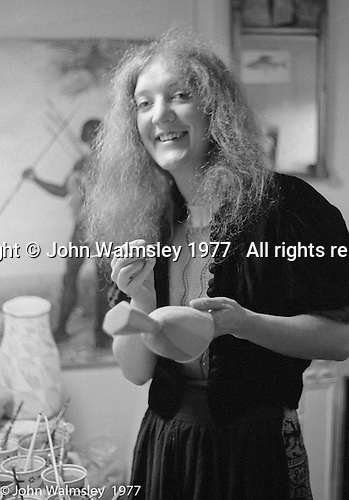 Liz Fritsch, potter, lived and worked at Digswell House, an artists' community run by the Digswell Arts Trust, Welwyn Garden City, Hertfordshire, UK.  1977. Other artists there at the time included: Lol Coxhill, jazz saxophonist, Veryan Weston, jazz pianist, John Blakeley, sculptor, Patricia Leighton, sculptor and John Walmsley, photographer.