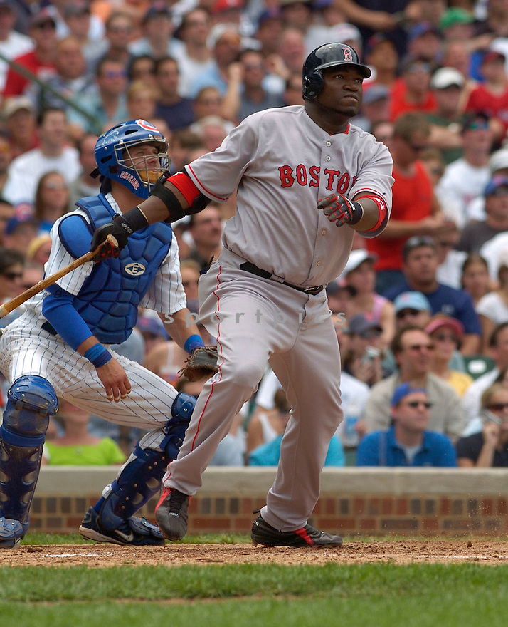 David Ortiz, of the Boston Red Sox, in action against the Chicago Cubs  , on June 10, 2005...Cubs win 14-6...David Durochiki / SportPics
