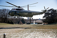 Marine One, with United States President Donald J. Trump aboard departs the White House in Washington, DC to take the President to Camp David for a weekend of meetings with bicameral Republican leaders on Friday, January 5, 2018.<br /> CAP/MPI/RS<br /> &copy;RS/MPI/Capital Pictures