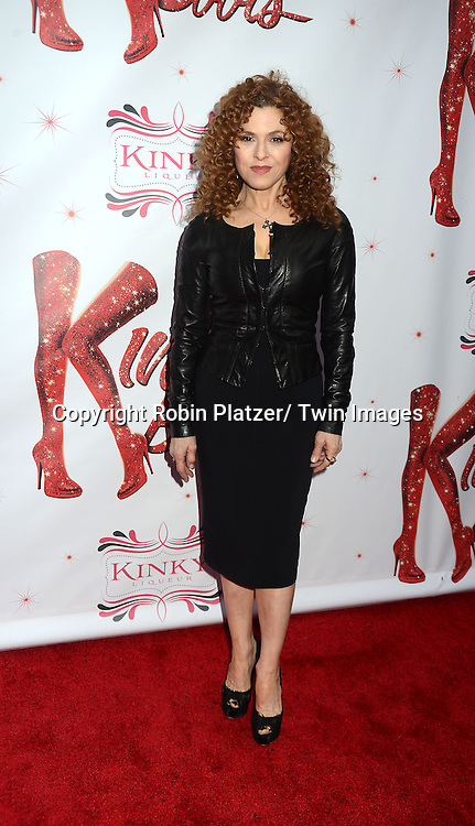 "Bernadette Peters arrives at the ""Kinky Boots"" Broadway Opening on April 4, 2013 at The Al Hirschfeld Theatre in New York City. Harvey Fierstein wrote is the Book Writer and Cnydi Lauper is the Composer."