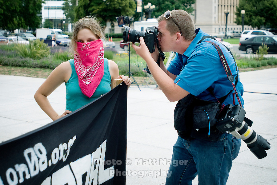 Unconventional Denver held a press conference to announce an agreement to stop protest plans if the City of Denver would be willing to change plans to spend $50 million on security for the Democratic National Convention and instead give money back to the community of Denver, at the Civic Center in Denver, Colorado, Monday, July 28, 2008. ..PHOTOS/ MATT NAGER