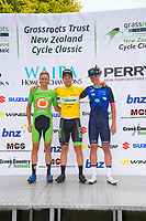 Final tour podium classification: Jesse Featonby (Oliver's Real Food racing, 2nd), Aaron Gate (EvoPro Racing, 1st) and Jay Vine (Nero Bianchi, 3rd). Circuit of Champions, stage five of the 2019 Grassroots Trust NZ Cycle Classic UCI 2.2 Tour from Cambridge, New Zealand on Sunday, 27 January 2019. Photo: Dave Lintott / lintottphoto.co.nz