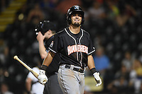 Jupiter Hammerheads second baseman Avery Romero (10) walks away after a call during a game against the Bradenton Marauders on April 18, 2015 at McKechnie Field in Bradenton, Florida.  Bradenton defeated Jupiter 4-1.  (Mike Janes/Four Seam Images)