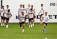 Leroy Sane (Deutschland Germany), Timo Werner (Deutschland Germany) beim Lauftraining - 24.05.2018: Training der Deutschen Nationalmannschaft zur WM-Vorbereitung in der Sportzone Rungg in Eppan/Südtirol