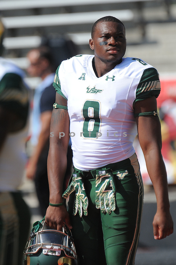 South Florida Bulls Tyre McCants (8) during a game against the Maryland Terrapins on September 19, 2015 at Byrd Stadium in College Park, MD. Maryland beat South Florida 35-17.