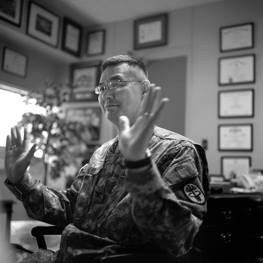 Col. John Cho, commander of the Evans U.S. Army Hospital at Ft. Carson, Colo., says the staff of Ft. Carson handles post-traumatic stress disorder and traumatic brain injury cases with care. (Kevin Moloney for the New York Times)