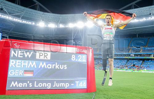 17.09.2016. Rio de Janeiro, Brazil. Markus Rehm of Germany celebrate his gold medal in Men's Long Jump - T44 Final during the Rio 2016 Paralympic Games, Rio de Janeiro, Brazil, 17 September 2016.