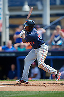 Portland Sea Dogs designated hitter Josh Ockimey (29) follows through on a swing during the second game of a doubleheader against the Reading Fightin Phils on May 15, 2018 at FirstEnergy Stadium in Reading, Pennsylvania.  Reading defeated Portland 9-8.  (Mike Janes/Four Seam Images)