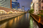 A view of the Kanda River from the Manseibashi Bridge in Akihabara or 'Electric Town' in Tokyo, Japan