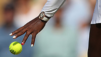 A close-up of Serena Williams' hand during her victory over Kristina Mladenovic (FRA) in their Ladies' Singles Third Round match<br /> <br /> Photographer Rob Newell/CameraSport<br /> <br /> Wimbledon Lawn Tennis Championships - Day 5 - Friday 6th July 2018 -  All England Lawn Tennis and Croquet Club - Wimbledon - London - England<br /> <br /> World Copyright &not;&copy; 2017 CameraSport. All rights reserved. 43 Linden Ave. Countesthorpe. Leicester. England. LE8 5PG - Tel: +44 (0) 116 277 4147 - admin@camerasport.com - www.camerasport.com
