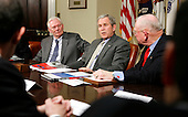 U.S. President George W. Bush (C) speaks to the media after a meeting with members of Securing America's Future Energy in the Roosevelt Room of the White House in Washington, DC Monday 29 January 2007. Bush is flanked by Herb Kelleher (L), Executive Chairman of Southwest Airlines Company, Bush, and Retired Marine Corps General P.X. Kelley. dpa Picture-Alliance OUT