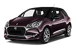 2016 Ds DS3 So-Chic 3 Door hatchback Angular Front stock photos of front three quarter view