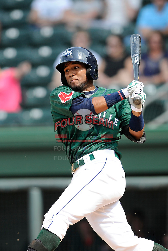 Designated hitter Wendell Rijo (11) of the Greenville Drive bats in a game against the Asheville Tourists on Sunday, July 20, 2014, at Fluor Field at the West End in Greenville, South Carolina. Rijo is the No. 18 prospect of the Boston Red Sox, according to Baseball America. Asheville won game one of a doubleheader, 3-1. (Tom Priddy/Four Seam Images)