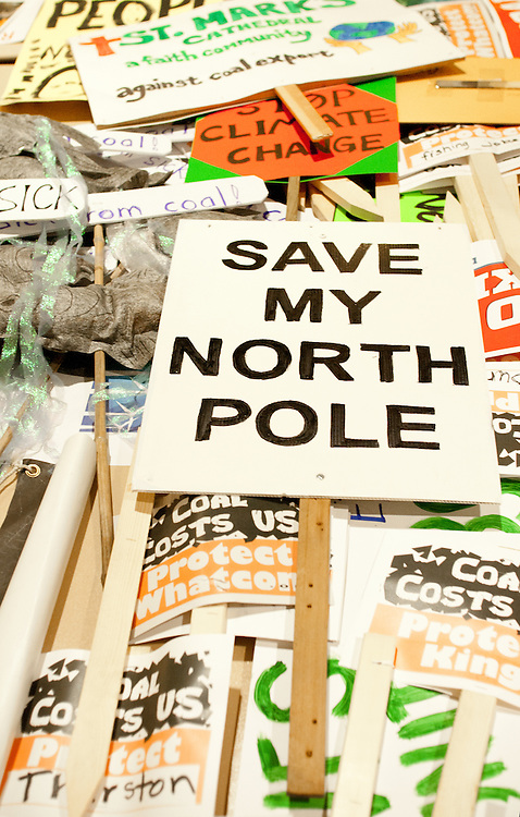 Protest signs, Environmental hearing, Seattle, Army Corps of Engineers host public input on Coal Ports, Coal terminals on Puget Sound, Washington State, Pacific Northwest, USA, December 13, 2012,