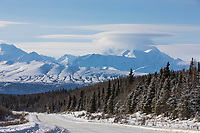 Mt. Hayes and the snow covered Richardson Highway in the Alaska Range, Interior, Alaska.