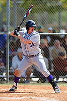 New York University Violets first baseman Colman Hendershot (34) at bat during a game against the Edgewood Eagles on March 14, 2017 at Terry Park in Fort Myers, Florida.  NYU defeated Edgewood 12-7.  (Mike Janes/Four Seam Images)