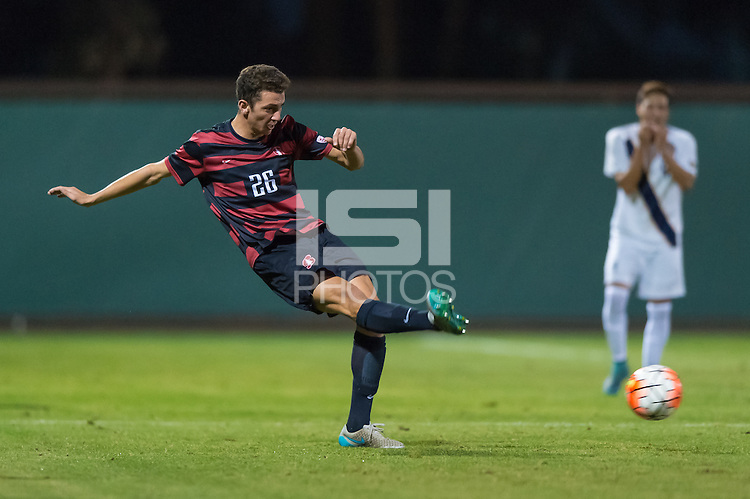 Stanford, CA - November 12, 2015: Adam Mosharrafa during the Stanford vs Cal Men's soccer match in Stanford, California.  The Cardinal defeated the Bears 1-0.