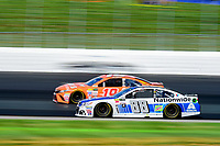 July 16, 2017 - Loudon, New Hampshire, U.S. - Dale Earnhardt Jr., Monster Energy NASCAR Cup Series driver of the Nationwide Chevrolet (88), races along side Daniel Suarez,driver of the TBD Toyota (19),  at the NASCAR Monster Energy Overton's 301 race held at the New Hampshire Motor Speedway in Loudon, New Hampshire. Eric Canha/CSM
