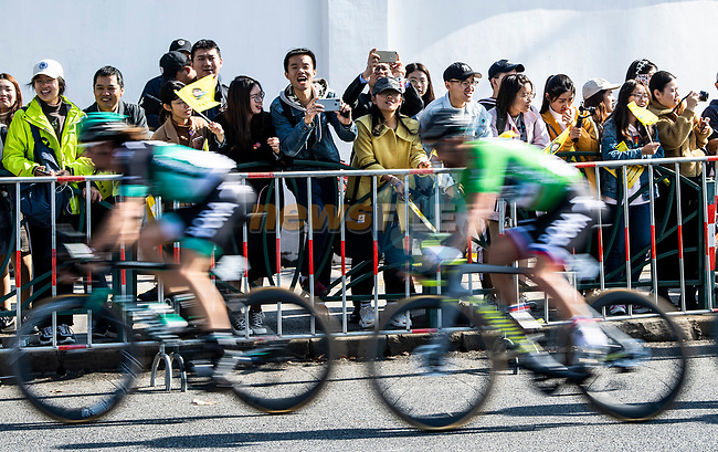 Daniel Oss (ITA) and Peter Sagan (SVK) Bora-Hansgrohe during the 2018 Shanghai Criterium, Shanghai, China. 17th November 2018.<br /> Picture: ASO/Alex Broadway | Cyclefile<br /> <br /> <br /> All photos usage must carry mandatory copyright credit (© Cyclefile | ASO/Alex Broadway)