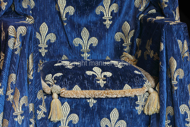 Detail of the embroidered velvet cloth and cushion with fleur de lys design on the royal throne, remade in 2007, in the Salle du Roi, or King's Hall, used by Francois I for meals and audiences, on the first floor of the Francois I wing, built early 16th century in Italian Renaissance style, at the Chateau Royal de Blois, built 13th - 17th century in Blois in the Loire Valley, Loir-et-Cher, Centre, France. The hand-painted wallpaper, tiled floor and painted ceiling, were restored by Felix Duban in 1861-66. The chateau has 564 rooms and 75 staircases and is listed as a historic monument and UNESCO World Heritage Site. Picture by Manuel Cohen