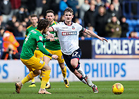 Bolton Wanderers' Callum Connolly competing with Preston North End's Ben Pearson  <br /> <br /> Photographer Andrew Kearns/CameraSport<br /> <br /> The EFL Sky Bet Championship - Bolton Wanderers v Preston North End - Saturday 9th February 2019 - University of Bolton Stadium - Bolton<br /> <br /> World Copyright © 2019 CameraSport. All rights reserved. 43 Linden Ave. Countesthorpe. Leicester. England. LE8 5PG - Tel: +44 (0) 116 277 4147 - admin@camerasport.com - www.camerasport.com