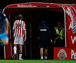 Peter Crouch of Stoke City walks off down the tunnel injured - Capital One Cup Quarter-Final - Stoke City vs Sheffield Wednesday - Britannia Stadium - Stoke - England - 1st December 2015 - Picture Simon Bellis/Sportimage