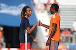 15 June 2016: New England's Zachary Herivaux (JPN) (left) and Carolina's James Marcelin (HAI) (42) shake hands before the game. The Carolina RailHawks hosted the New England Revolution at WakeMed Stadium in Cary, North Carolina in a 2016 Lamar Hunt U.S. Open Cup fourth round game.