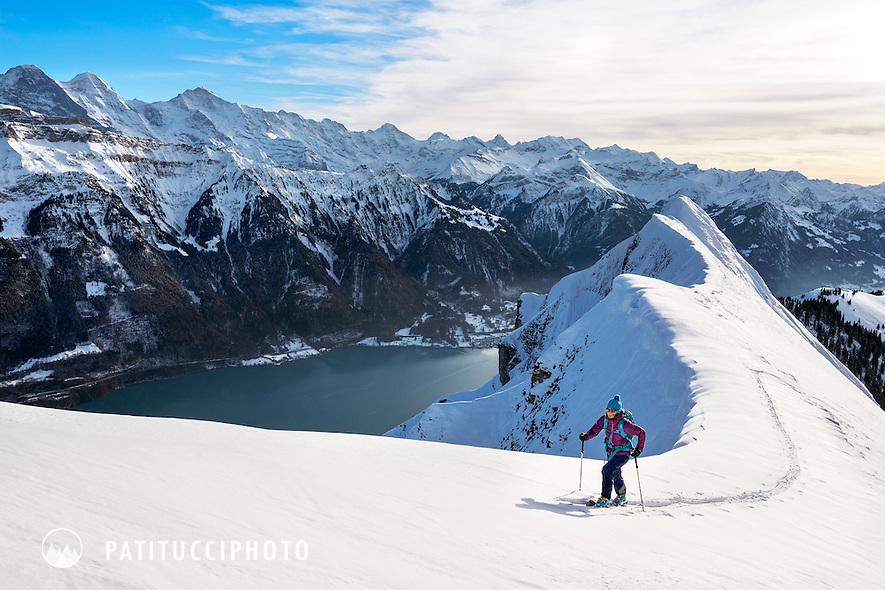 Ski touring on the Hardergrat, high above Interlaken and the Brienzersee in the Jungfrau Region of Switzerland