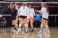 STANFORD, CA - November 15, 2017: Audriana Fitzmorris, Merete Lutz, Jenna Gray, Kathryn Plummer, Morgan Hentz, Meghan McClure at Maples Pavilion. The Stanford Cardinal defeated USC 3-0 to claim the Pac-12 conference title.