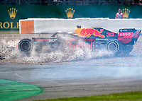 Max VERSTAPPEN (NDL) (ASTON MARTIN RED BULL RACING) goes into the gravel after being the collision with Sebastian VETTEL (GER) (SCUDERIA FERRARI)  during the Formula 1 Rolex British Grand Prix 2019 at Silverstone Circuit, Towcester, England on 14 July 2019. Photo by Vince  Mignott.
