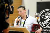 Otago's Gina Crampton at the Lion Foundation Netball Championship cup presentation after defeating Hamilton, day five, MoreFM Arena, Dunedin, New Zealand, Friday, October 04, 2013. Credit: Dianne Manson/©MBPHOTO /Michael Bradley Photography.